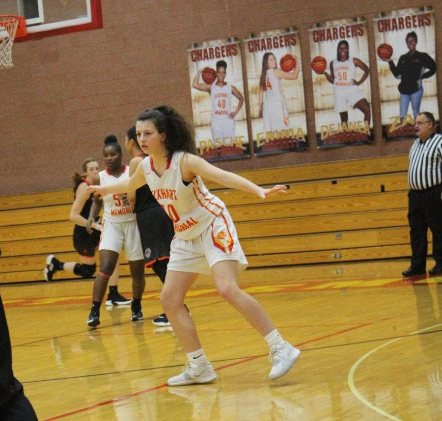 Freshman+Mady+Axsom+guards+an+opponent+during+a+game+against+the+Warsaw+Tigers+in+Phyllis+L.+Tubbs+Gymnasium+on+Tuesday%2C+Jan.+8.+Axsom+is+the+GENESIS+athlete+of+the+week.+