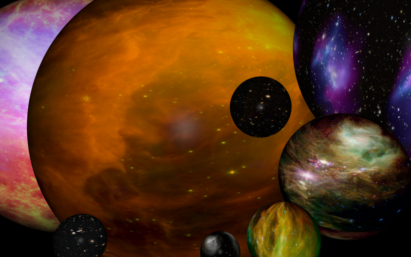 An artistic depiction of eight different Multiverses (that could contain the answers to different versions of our own Multiverse).