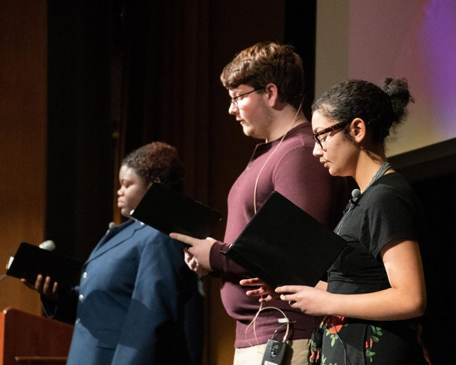 Speech team members Shamaya Bell, Eric Rodman, and Jasmin Towns perform at the Veteran's Day assembly on Monday, Nov. 12. The speech sectional team is recruiting new members and the deadline is Friday, Feb. 8.