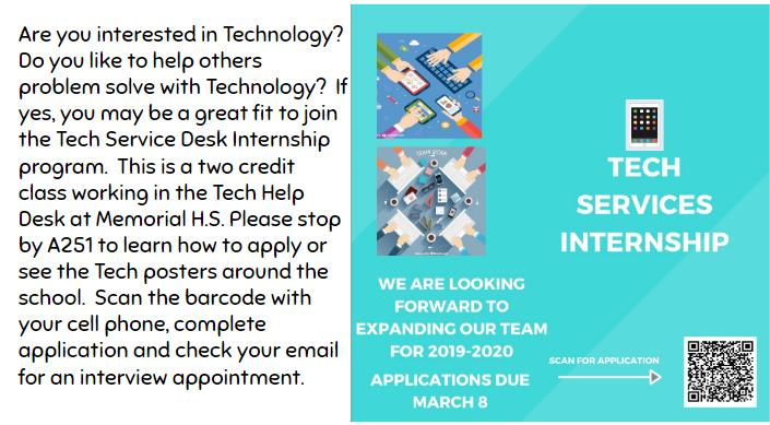 Tech services looking for interns: Applications due March 8