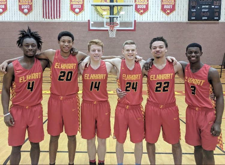 Elkhart Memorial boys basketball seniors, (left to right) : TreyGallope, javon Forester, Hank Smith, Brandon Bailey, Ben Roby, and Jai-Veon Qaiyim