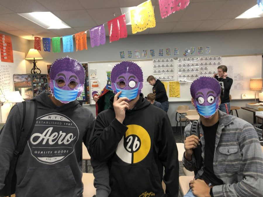 """Juniors Damien Funnell, Breydan Weston, and Juan Cepero disguised as their favorite Señor Wooly character from the video """"La Dentista"""" on Friday, Feb. 11. They were prepared to see the newly released and exclusive Señor Wooly song, """"Una Cancion Original"""" which kicked off """"Wooly Week."""""""