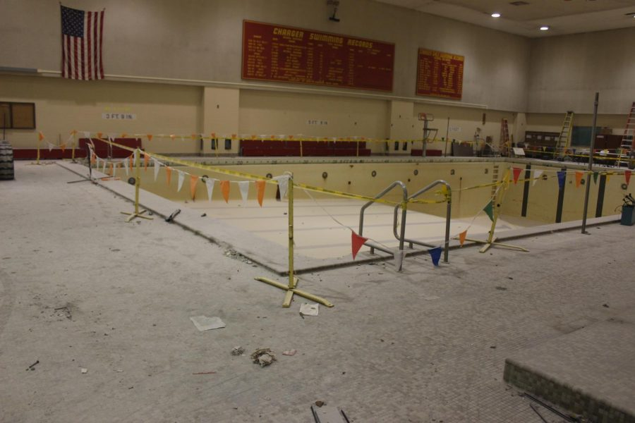 Construction began on the Elkhart Memorial pool in January. Plans for the pool area, which include additional music classrooms, will be complete by January 2020.
