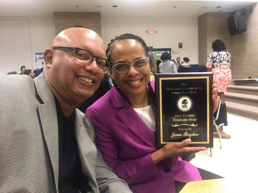 Lewis and Janie Boyden at The Elkhart Chapter of the Indiana Black Expo Trailblazer Award Ceremony after Janie accepted the Leroy Robinson Trailblazer Award.