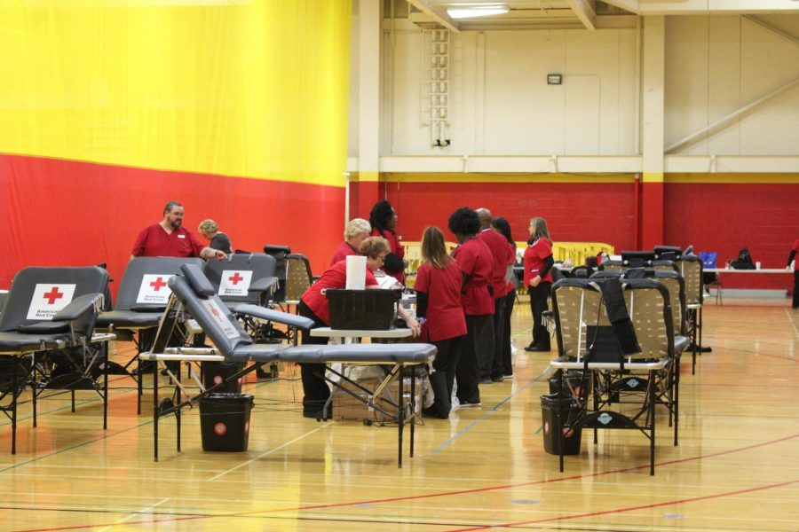 Phlebotomist from the American Red Cross prepare for a wave of students to donate their blood on Tuesday, Nov. 20, 2018. The next blood drive is Friday, March 29 which is the last day of school before spring break.