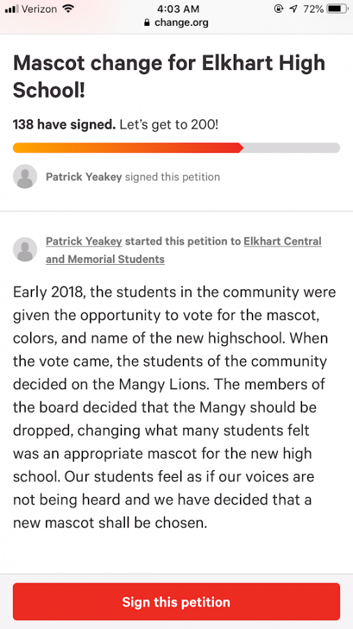 The original petition created by Elkhart Central senior Patrick Yeakey, screenshotted on Tuesday, Feb. 12. The petition for the mascot was edited while keeping the existing signatures.