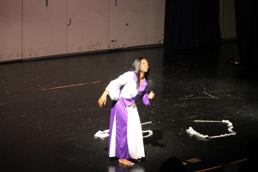 "Sophomore Jamiya Gladden performs a praise dance to the song ""Your Spirit"" by Tasha Cobbs on Thursday, Feb. 28. This was her second year performing at the Oratory Contest and she was also the only solo dancer of the night."