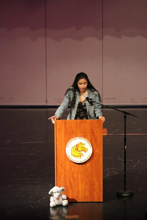 "First time competitor, Junior Jahlea Douglas introduces the ""elephant in the room"" while presenting her speech about the artist ""Prince Ea"" for the Annual Oratory Contest on Thursday, Feb. 28. Douglas earned first place overall."