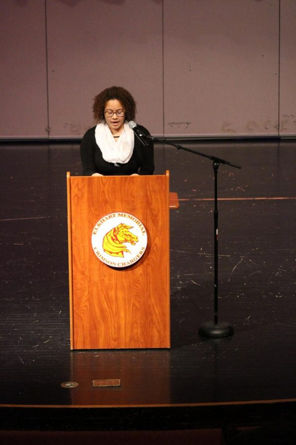 "Senior Tomoria Jones gives her speech featuring the artist ""Chance the Rapper"" on Thursday Feb. 28. Jones was the fourth speaker of the evening."