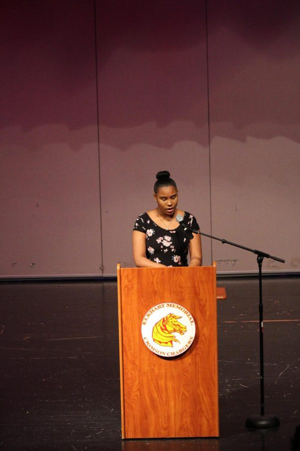 Junior La'Tasha Prestly gives her speech at the Annual Oratory Contest on Thursday Feb. 28. Prestly received the second place prize of the night and she also performed with her dance and movement class.