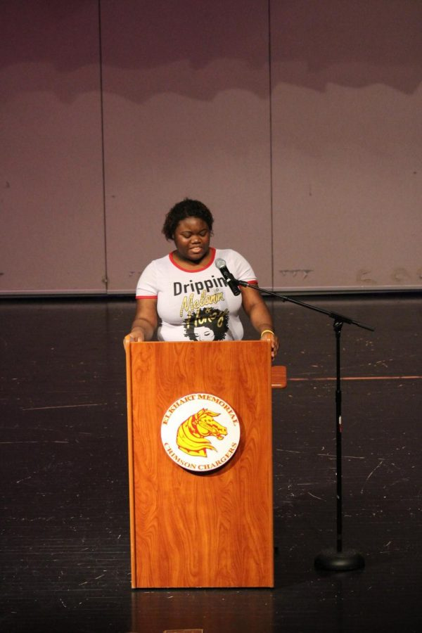 "Junior Shamaya Bell speaks to the audience as she is the first contestant to present her speech at the Annual Oratory Contest on Thursday, Feb. 28. Bell won third place overall and had the opportunity to present an original poem called ""Ode to my Existence: A Tribute to Sojourner Truth."""
