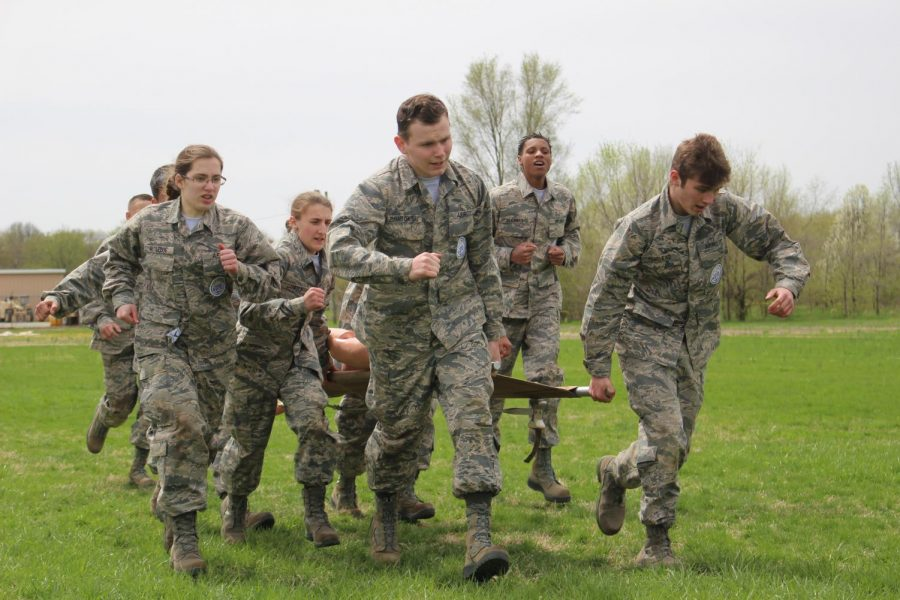 JROTC Alpha Raider team finishes the litter carry at  Terre Haute on Saturday, April 13. Everyone had a role in the course and they all executed it well.