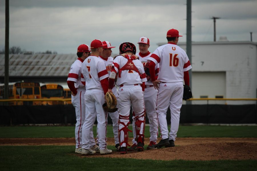 The+Chargers+infielders+have+a+team+meeting+before+the+start+of+the+game+against+the+Goshen+Redhawks+on+Friday%2C+April+19.+
