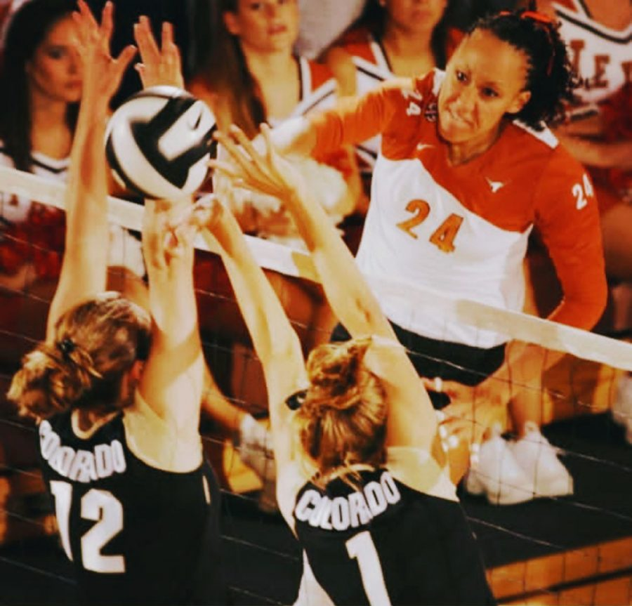 Leticia Armstrong (24) tools two Colorado blockers. Armstrong is an All-American for the Longhorns.