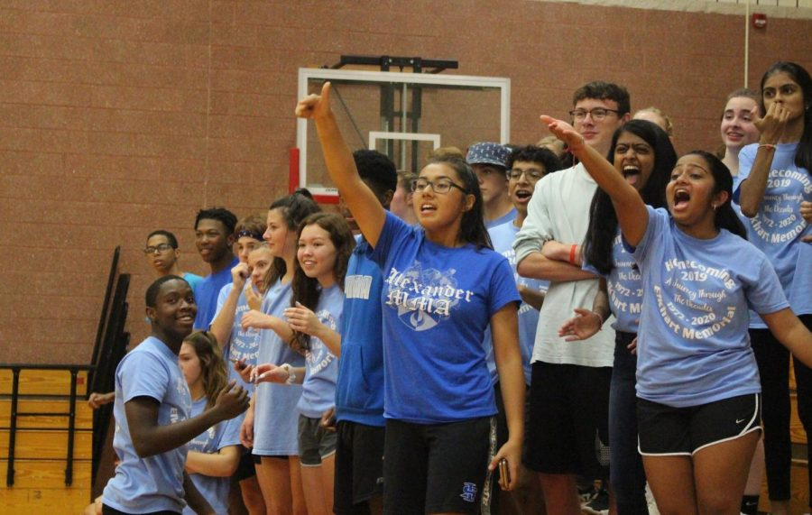 Sophomores cheer on their class in the frog leap round on Wednesday, Oct. 2.