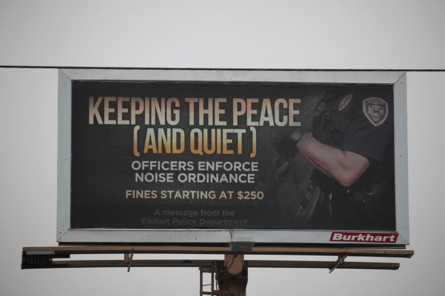 One of the many new billboards posted around town by the Elkhart Police Department. This one can be seen on Cassopolis street.