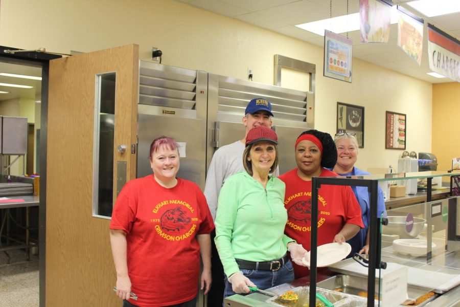 The cafeteria staff takes time after lunch to pose for a picture on Friday, Oct. 18.