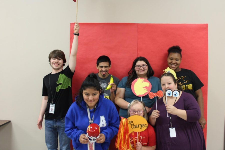 Students take time during lunch to pose in the National School Lunch Week photo booth on Friday, Oct. 18.