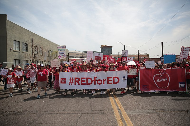 Arizona teachers strike and rally on Friday, April 26, 2018. Elkhart Community Schools, among many other schools in the area, cancelled school on Nov. 19 so that teachers can attend Red for Ed Action Day in Indianapolis. https://creativecommons.org/licenses/by/2.0/deed.en