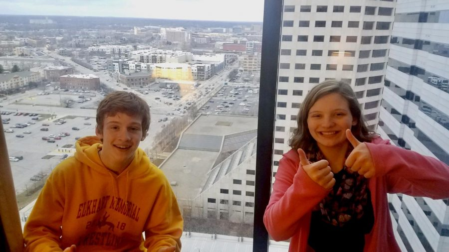 Senior Chance Shank and his younger sister Journey Shank pose in front of their hotel room window in Indianapolis, IN on Friday, Oct. 28, 2016 where they stayed during the State Wrestling Championship. Journey is supportive of Chance's decision to join the military after graduation.