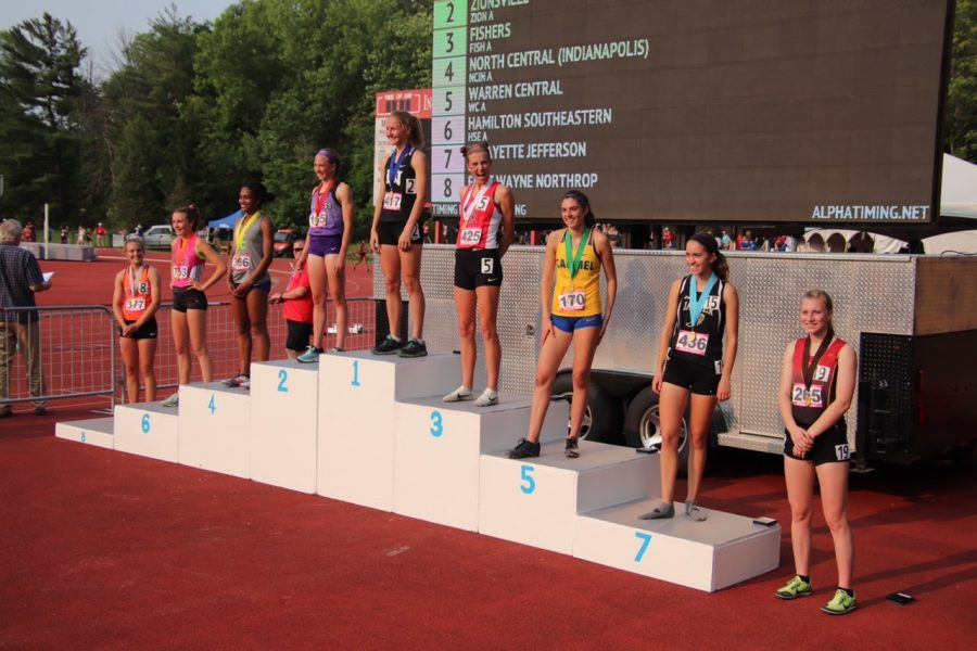 Senior, Morgan Dyer, placed 9th in the 1600 meter run in the State Track and Field meet on Saturday, June 1. She has ran on the Indiana University track for the ISHAA State meet three years in a row.