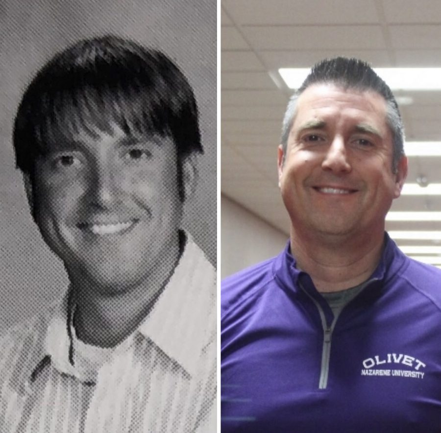 Business teacher Bruce Baer's decade transformation. This is his yearbook photo from 2009 next to a current photo.