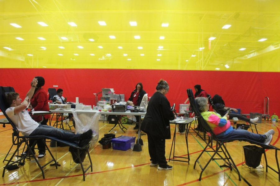 Students and teachers donate blood during the annual fall blood drive on Tuesday, Nov. 26.