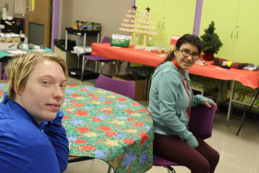 Two students in Mr. Knowltons class working the craft bazaar on December 6, 2019.