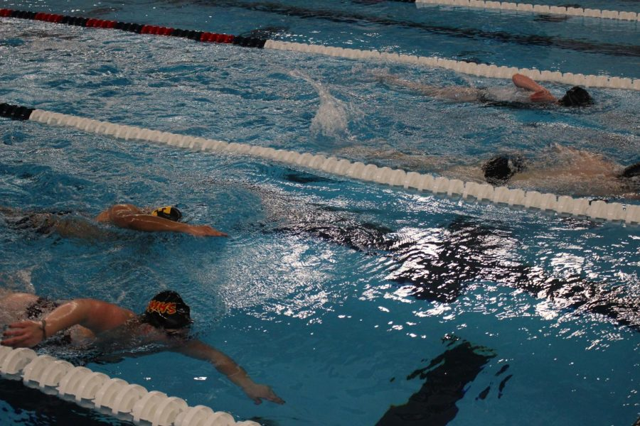 Memorial's swimmers warm-up with sets of freestyles on Thursday, Jan. 2 at their swim practice at Elkhart Aquatics Center.