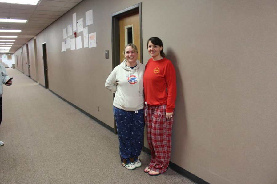 Social studies teacher Linda Fine and math teacher Julie Tyrakowski pose for a picture on Wednesday, Jan. 22 for lazy day.
