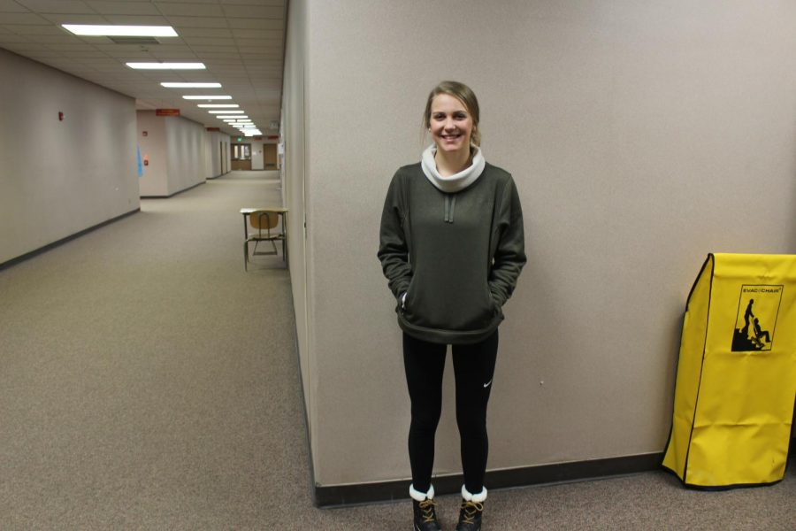 Senior Morgan Eash took time out of class on Wednesday, Jan. 27 to pose for a picture for lazy day.