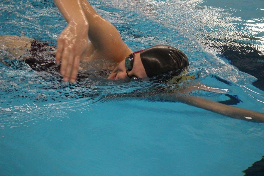 Senior Morgan Eash takes a breath during her freestyle stroke on Thurs. Jan. 2 at the Elkhart Aquatics Center.