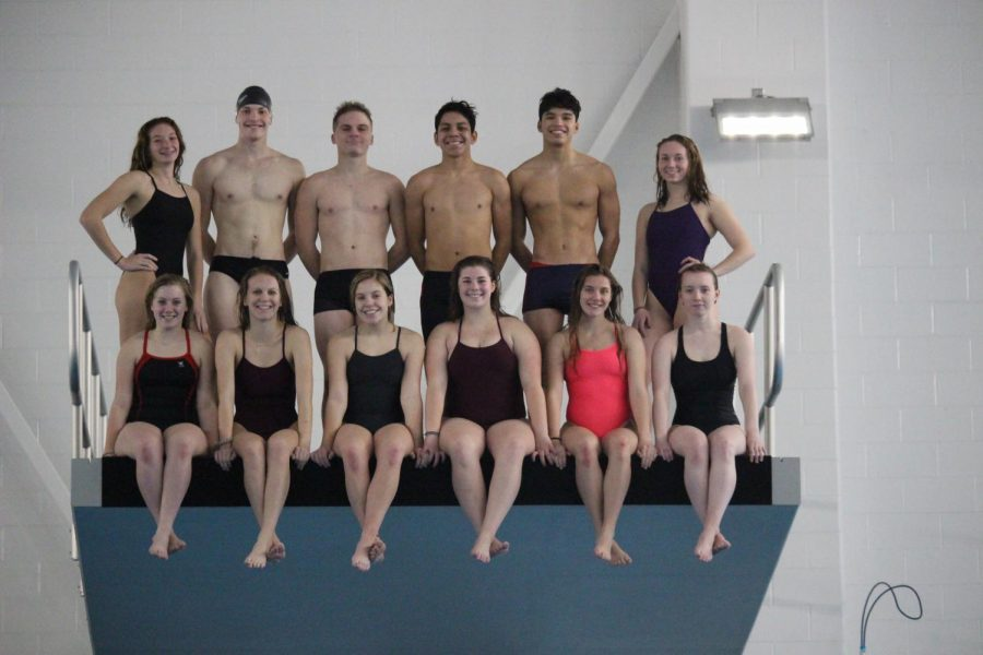 The Elkhart Memorial swim team smiles for a photo on top of a diving deck on Jan. 2 during practice at the Elkhart Aquatics Center.