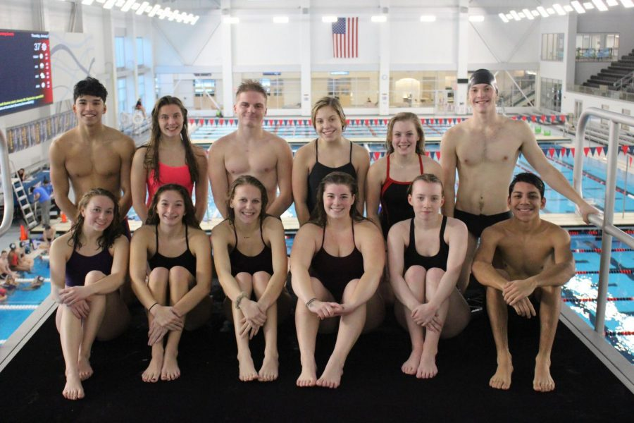 Elkhart Memorial's swim and dive team takes a picture on top of the highest diving deck at the Elkhart Aquatic Center on Thurs. Jan. 2.