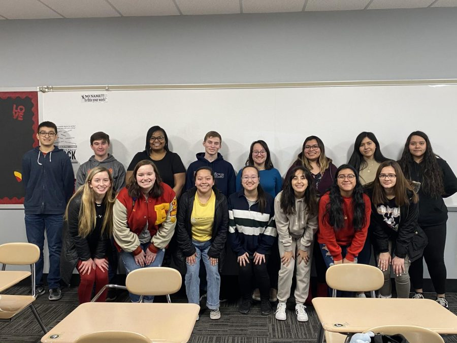 Memorial's Key Club smiles for a picture on Feb. 20 in Jennifer Andrew's classroom. During meetings, club members discuss upcoming community service opportunities.