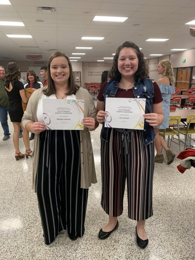 "Juniors Madalynn Fendrick and Joy Leonard received the ""Outstanding Junior Leadership"" award at the 2019 Elkhart Memorial Marching Band Banquet. Madalynn is the musician of the week for GENESIS."