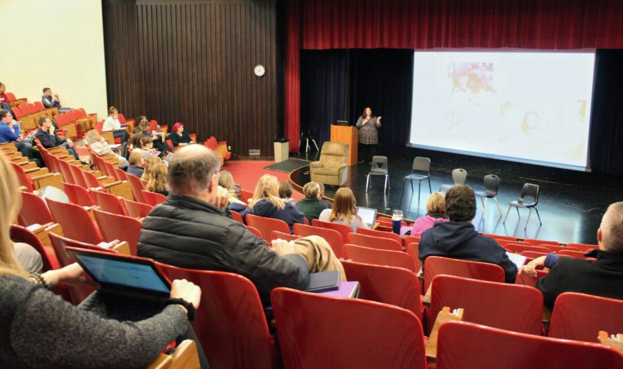 """ECS teachers attend a session taught by Kathryn Lane called """"Understanding Trauma in our Students,"""" in the Little Theater at EMHS on Thursday, Feb. 6."""