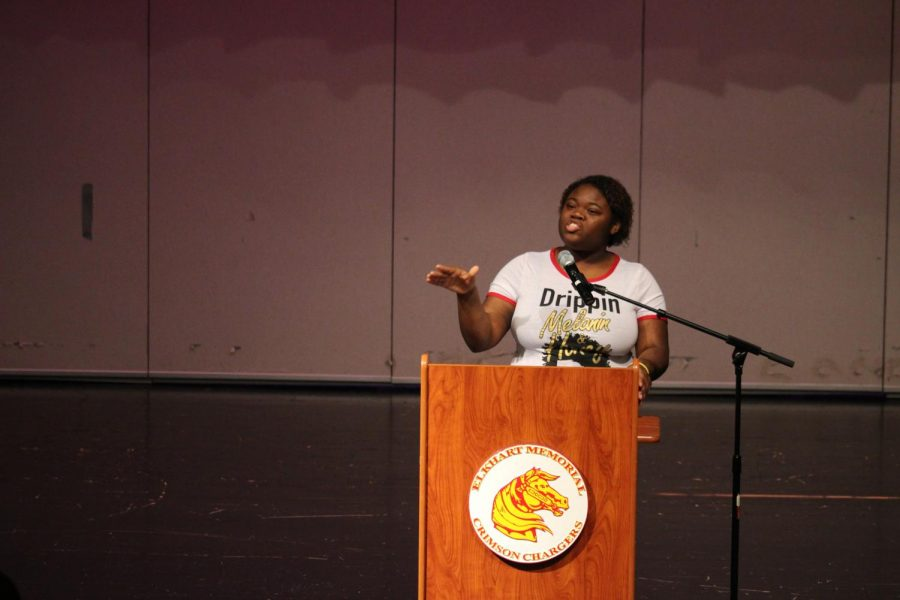 Senior Shamaya Bell performs an original poem at the Annual African American History and Current Issues Oratory Contest on Thursday, Feb. 28, 2019. Bell placed third overall in the competition.