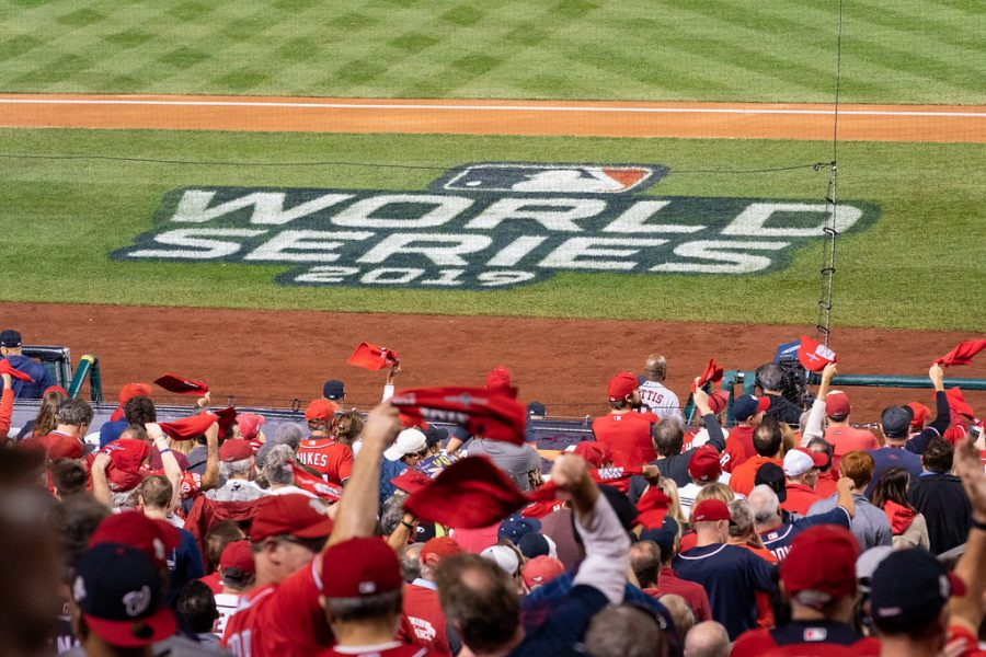 Washington Nationals fans wave rally towels during Game 5 of the MLB World Series between the Washington Nationals and the Houston Astros Sunday, Oct. 27, 2019, at Nationals Park in Washington, D.C.