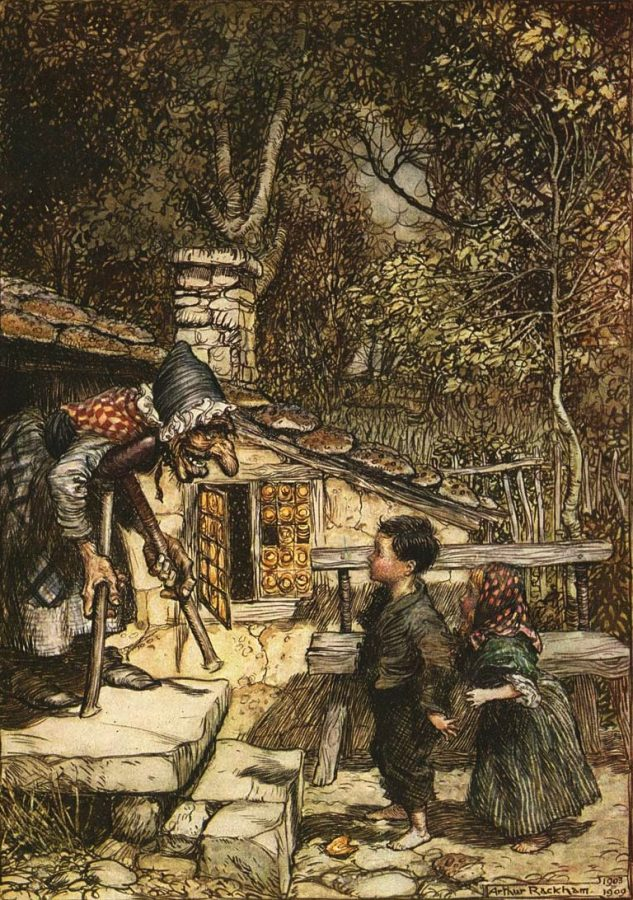 Illustration of Hansel and Gretel, a well-known German folktale from the Brothers Grimm, by Arthur Rackham, 1909. The fantasy, horror movie,