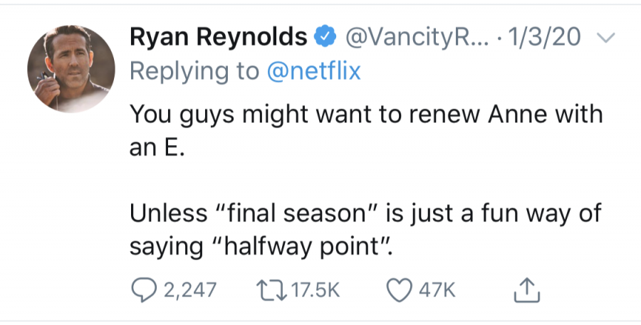 Screenshot of a comment Ryan Reynolds made to a tweet by Netflix.