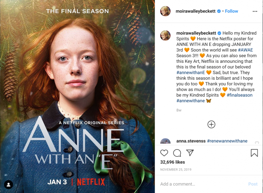 Screenshot+of+an+Instagram+post+by+%22Anne+With+an+E%22+creator%2C+Moira+Walley-Beckett%2C+announcing+the+release+of+the+final+season+of+the+show+on+Netflix
