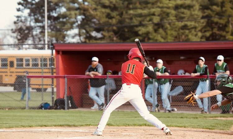 Junior Dylan Rost steps up to the plate against Concord on Monday, April 22, 2019 during his sophomore season. Rost was chosen as our athlete of the week.