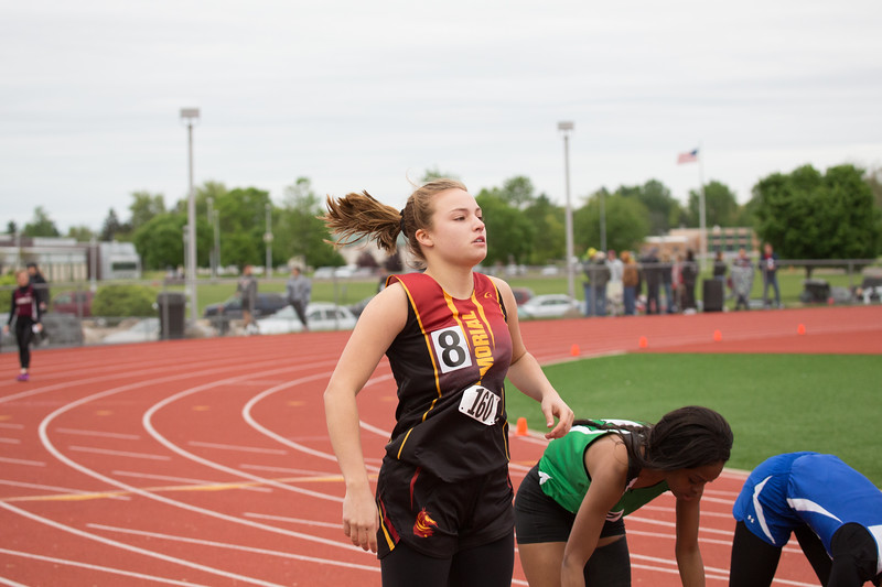 Junior sprinter Emily Anderson at the 2019 Track and Field Regionals at Warsaw.
